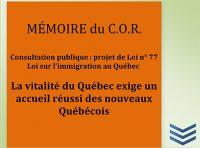 Mémoire projet de Loi 77